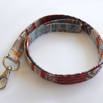 Tribal Print Lanyard / Rustic / Southwestern Keychain / Southwest / Key Lanyard / ID Badge Holder / Rust / Chevron Lanyard