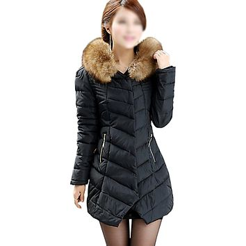 SYB 2016 NEW Womens Winter Faux Fur Trim Hooded Casual Packable Down Jacket Black