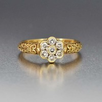 English Gold Diamond Cluster Engagement Ring