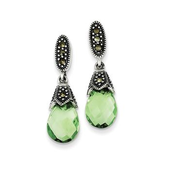Sterling Silver Marcasite and Green CZ Earrings