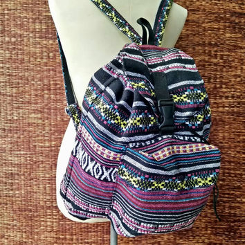 Festival Backpack Tribal Boho southwestern Styles Hill tribe Woven fabric Ethnic ikat design Overnight travel bag Hippie Men women fashion