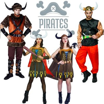 Cool New Arrival Adult Viking Pirate Costume  Cosplay Party Imitation Halloween Deluxe Pirate for Women Pirate dress for Adult MenAT_93_12