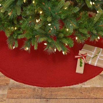 Festive Red Burlap Tree Skirt