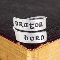 Dragonborn Ring - Skyrim - Video Games - Adjustable Aluminum Wrap Ring