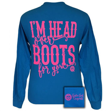 Girlie Girl I'm Head Over Boots For You County Long Sleeves T-Shirt