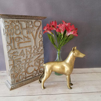 Large Brass Doberman/ Brass Dog Figurine/ Doberman/ doberman pinscher/ Doberman Gifts/ Large Brass Dog/ Brass Dog Statue/ Dog Brass Bookend