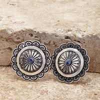 Etched Medallion Drop Earrings