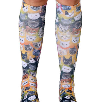 Galaxy Kitty Knee High Socks