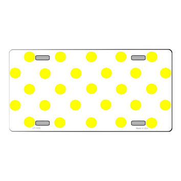 Smart Blonde Yellow | White Polka Dot Print Customizable Vanity Metal Novelty License Plate Tag Sign