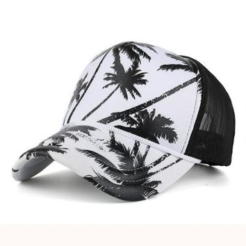 Coconut Palm Trees - Cute, Graphic, Cool Baseball Cap with Breathable Mesh - Sports & Leisure Hat