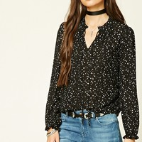 Tie-Neck Star Print Top
