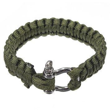 6 Colors Self-rescue Adjustable Paracord Survival Bracelet 7 Strand Handmade Weave Parachute W/ Cord Shackle outdoor tools