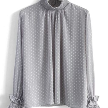 Dotted Flocks Chiffon Top in Grey