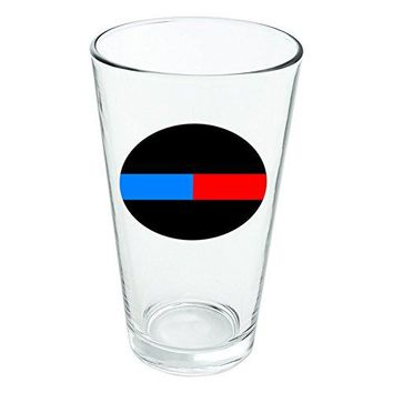 Thin Blue Red Line Firefighter Police Emergency Response Novelty 16oz Pint Drinking Glass Tempered