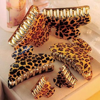Arcylic Leopard Hairpins Hair Clip Trendy Crab Hair Claws For Women Girl Hair Accessories Hair Gripper 2016 High Quality 3 Size