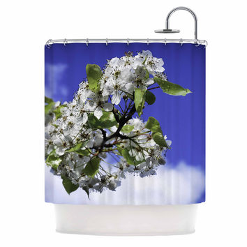 "Nick Nareshni ""Cherry Blossoms And Blue Sky"" Aqua White Shower Curtain"