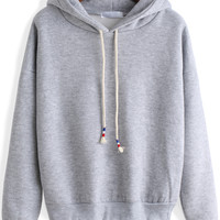 Grey Long Sleeves  Crop  Hooded Sweatshirt