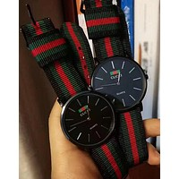 GUCCI Popular In The World Red Green Stripe Weave Watch Couple Wrist Watch Black I-YY-ZT