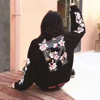 PEAPON1 off-white:Fashion Print Floral Hooded Sport Top Sweater Sweatshirt Hoodie
