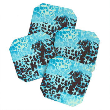 Caleb Troy Snow Leopard Coaster Set