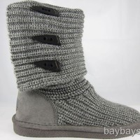 "BEARPAW KNIT TALL 14"" BOOT GRAY FOLDABLE FABRIC SHEEPSKIN CHARCOAL WOMENS SIZES"