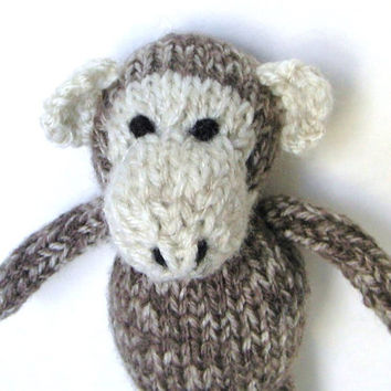 Knit Baby Toy, Hand Knit Little Monkey, Ready To Ship, Small Stuffed Animal Newborn Photo Prop Little Plush Doll Stuffed Monkey Toy 6 1/2""