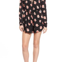 Lush Lace-Up Print Romper | Nordstrom
