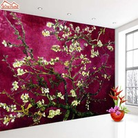 ShineHome-Dark Red Van Gogh Almond Blossom Wallpaper Rolls for 3d Walls Wallpapers for 3 d  Living Rooms Wall Paper Murals