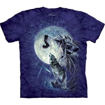 PEAPGQ9 Wolf Duo Howling At Moon T-Shirt