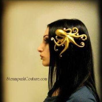 Stolen Pearls gold Octopus hair clip Steampunk Couture
