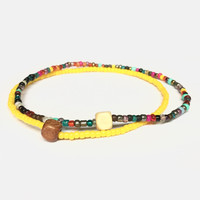 Set Of Two Stacking Bracelets, Natural Wood and Seed Bead