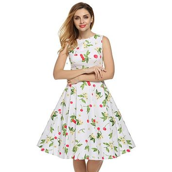 Floral Swing Summer Dress in White with Red Cherries