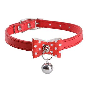 Dog Collars PU Leather With Bells Fashion Style Cute Cats Chihuahua Use Collar Pets Supplier Adjustable Free Shipping