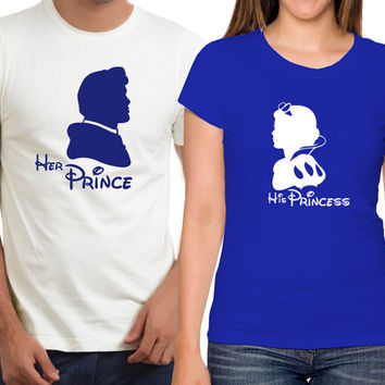 Personalized Couples Snow White Tee Shirts / Customized Couples Disney Tank Tops