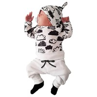 Kids' things Children's Clothing Babies Newborn Girl Boy Clothes Set Infant Baby Clothing Cloud Print T Shirt +Pants + Hat #30