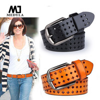 HOT SALE:2015 Adult Belts Free Shipping Hot Sale Hk Cutout Strap Female Genuine Leather Cowhide Belt Elastic Hollow Out