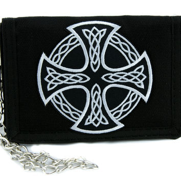 Celtic Iron Cross Tri-fold Wallet with Chain Alternative Clothing Sons of Anarchy Biker