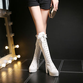 PU Round Toe Block Heel Lace Up Knee High Boots