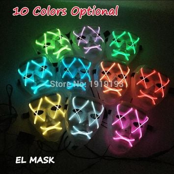 Halloween EL Wire Mask Light Up LED Neon Costume Flat mouth X eyes Mask for Carnival Party Decoration with Steady On
