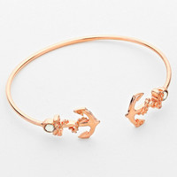 Anchor Double Sided Cuff Bracelet Rose Gold