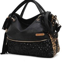 Fashion Tassels sequined leopard handbag shoulder bag