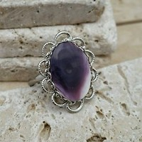 Vintage Silvertone Purple Stone Ring, Adjustable