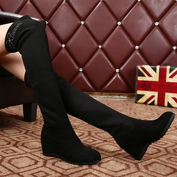 Fashion Crystal Adjustable Over Knee Black Boots