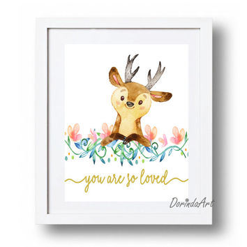 Baby deer printable Baby girl Nursery art Floral Watercolor fawn print You are so loved Woodland Nursery 11x14 16x20 Coral, Gold, Blue Pink
