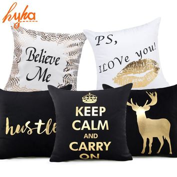 Hyha Letter Bronzing Cushion Cover Deer Love Cotton Polyester Bohemian Printed Home Decorative Pillows Cover Moon Kiss you