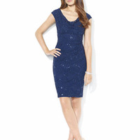 Lauren Ralph Lauren Sequined-Lace Cowlneck Dress