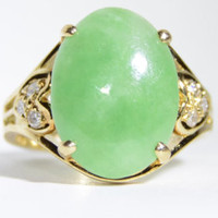 Vintage Green Jade and Diamond Heart 14k Yellow Gold Ring Size 5 - Edit Listing - Etsy
