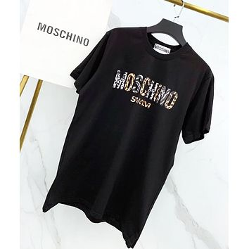 Moschino Fashion New Leopard Print Women Men Top T-Shirt Black