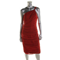 Carmen Marc Valvo Womens Silk Ruched Cocktail Dress