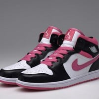 Nike Air Jordan Mid GG Silver Vivid Pink & White Women Sports Basketball Shoes